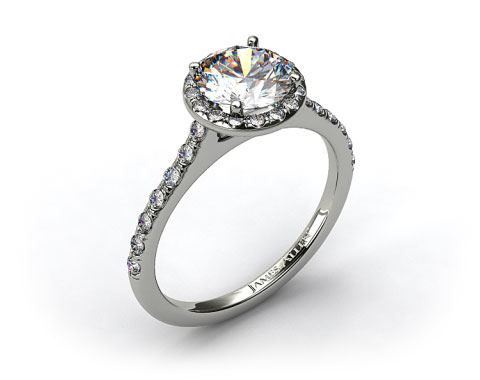 18k White Gold Pave Halo and Shank Diamond Engagement Ring (Round Center)